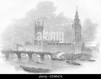 HOUSES OF PARLIAMENT: The new Palace of Westminster from Hungerford Bridge, 1850 - Stock Photo