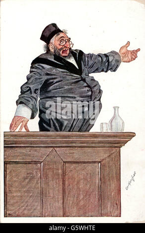 Judaism / Jewry and persecution of Jews, anti-Semitism, Jewish lawyer pleading, drawing, picture postcard, 1930s, - Stock Photo