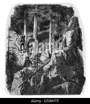 justice, serious crime, smuggling, smugglers in the mountains, wood engraving, circa 1900, Additional-Rights-Clearences - Stock Photo