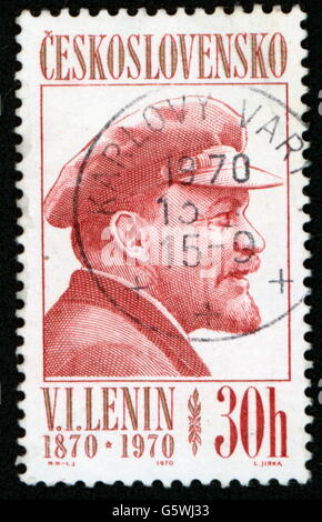 Lenin (Vladimir Ilyich Ulyanov), 22.4.1870 - 21.1.1924, Russian politician, portrait, postage stamp of 30 hellers - Stock Photo