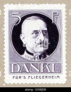 Dankl von Krasnik, Viktor, 18.9.1854 - 8.1.1941, Austrian general, portrait, poster stamp 'Für's Fliegerheim', Germany, - Stock Photo
