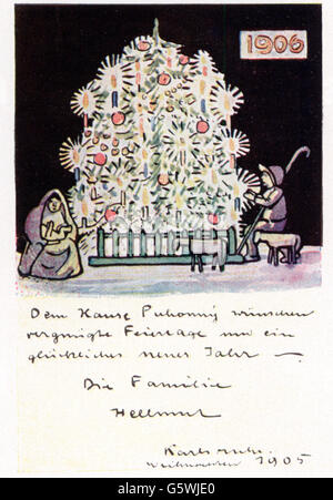 Christmas, greetings card, greetings card for Christmas and New Year by Hellmut Eichrodt (1872 - 1943), 1905, Additional - Stock Photo