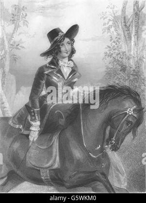 WALTER SCOTT: Diana Vernon (Rob Roy), antique print 1841 - Stock Photo