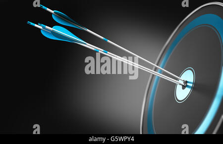 3D illustration of three arrows hitting the center of a modern target with depth of field effect. Conceptual image - Stock Photo