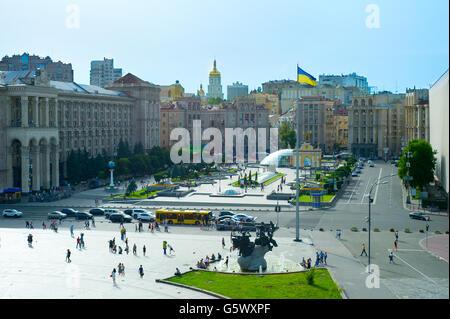 View of Maidan Nezalezhnosti Square in the bright sunny day. Kiev, Ukraine - Stock Photo