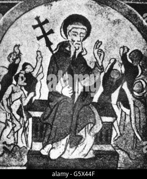 Anthony 'the Great', circa 251 - circa 353, Egyptian saint, half length, healing of people suffering from St. Anthony's - Stock Photo
