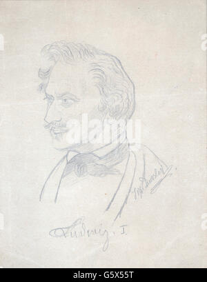 Ludwig I, 25.8.1786 - 29.2.1868, king of Bavaria 16.2.1825 - 20.3.1848, portrait, pencil drawing by Joseph Dussler, - Stock Photo