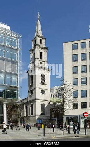 St Vedast Alias Foster, church in the City of London; exterior with tower and spire - Stock Photo