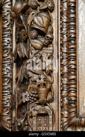 St Vedast Alias Foster, church in the City of London; detail of the pulpit from All Hallows, Bread Street - Stock Photo