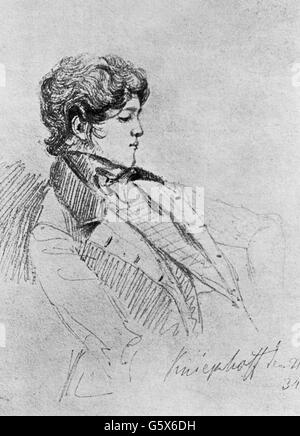 Bismarck, Otto von, 1.4.1815 - 30.7.1898, German politician, youth, during his years of study at the University - Stock Photo