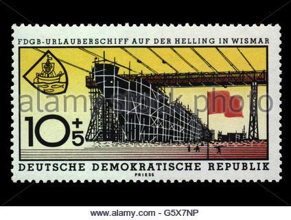 mail, postage stamps, Germany, German Democratic Republic, 10 + 5 pfennig stamp, series Freier Deutscher Gewerkschaftsbund - Stock Photo