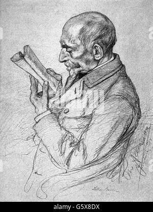 Bucher, Lothar, 25.10.1817 - 12.10.1892, German civil servant, politician and journalist, half length, drawing by - Stock Photo