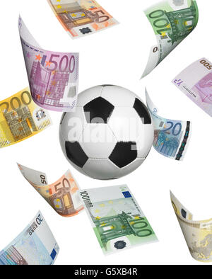 Soccer ball with euro banknotes isolated on white. Vertical format - Stock Photo