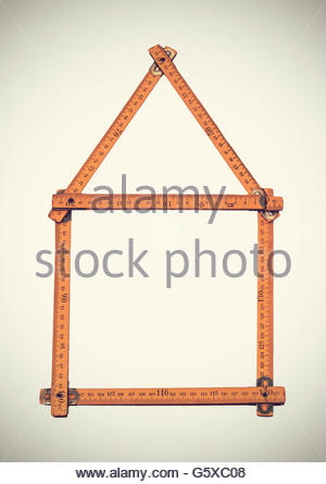 House made with folding ruler - Stock Photo