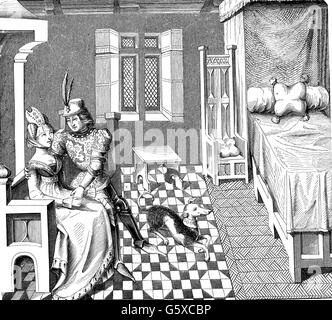 Middle Ages, people, knight with his lady in the bedroom, after a miniature of the poem 'Othea' by Christine de - Stock Photo