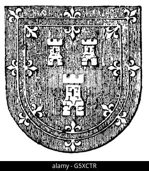 heraldry, coat of arms, Great Britain, city arms, Aberdeen, wood engraving, 1892, Additional-Rights-Clearences-NA - Stock Photo