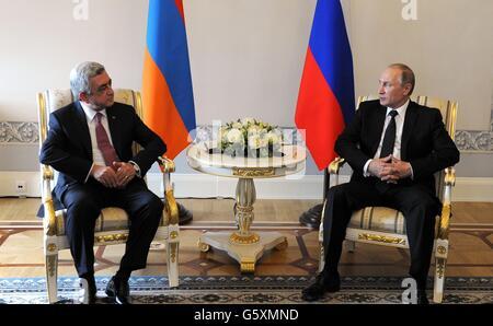 Russian President Vladimir Putin during a bilateral meeting with Armenian President Serzh Sargsyan June 20, 2016 - Stock Photo