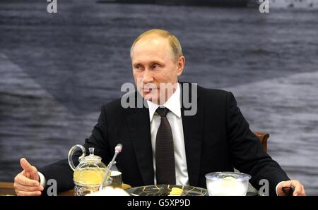 Russian President Vladimir Putin during a meeting with international news agencies on the sidelines of the St. Petersburg - Stock Photo