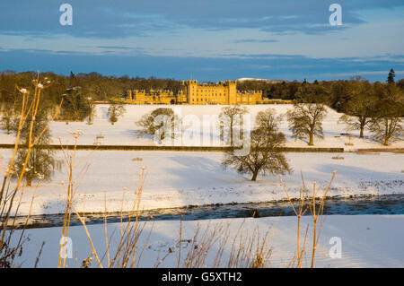 Floors Castle, Kelso Scottish Borders in winter with snow - Stock Photo