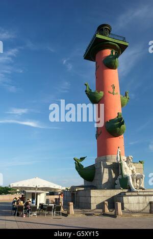 Rostral Column,  Strelka of Vasilievsky Island, Saint Petersburg, Russia - Stock Photo
