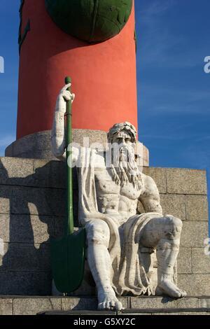 Pedestal of Rostral Column,  Strelka of Vasilievsky Island, Saint Petersburg, Russia - Stock Photo