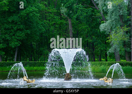 Fountains in gardens, Peterhof, Petrodvorets, Saint Petersburg, Russia - Stock Photo