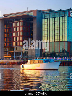 Modern Architecture Netherlands modern architecture of amsterdam with reflection in a river stock