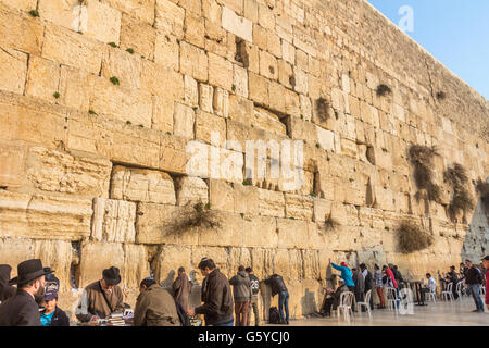 The wailing wall in Jerusalem - Stock Photo
