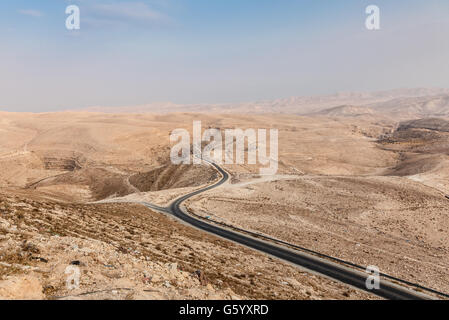 Judean desert east from Jerusalem and west from Dead Sea with Kidron Valley and Mar Saba Monastery in Palestine - Stock Photo