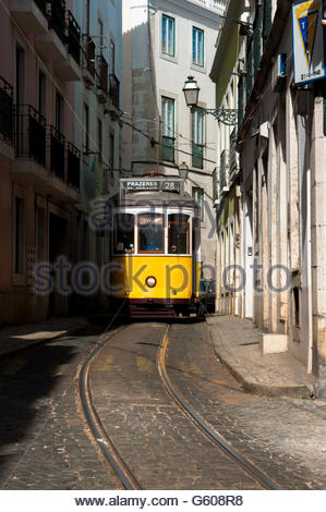 Nr 28, the yellow streetcar in Lisbon, Portugal - Stock Photo