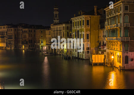 Night view of Venice canals in Italy - Stock Photo