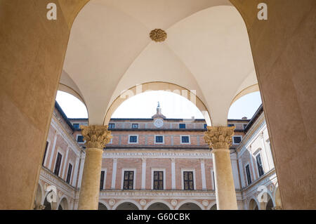 Italy, Marche region, Urbino, the Ducal Palace built by Federico Da Montefeltro, the courtyard - Stock Photo