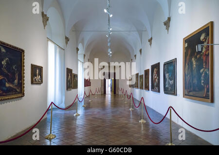 Italy, Marche region, Urbino, the Ducal Palace built by Federico Da Montefeltro, the paintings gallery - Stock Photo