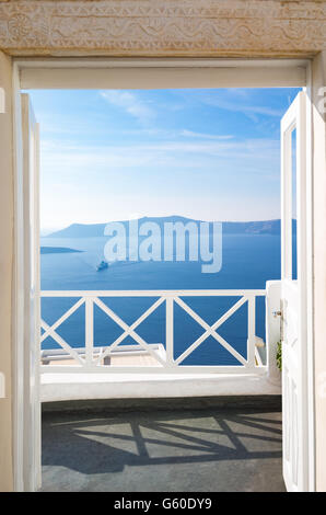 Greece, Santorini island, Fira, view on the volcano area from the caldera pathway - Stock Photo