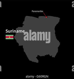 Detailed map of Suriname and capital city Paramaribo with flag on black background - Stock Photo
