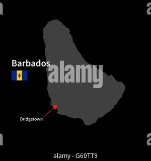 Detailed map of Barbados and capital city Bridgetown with flag on black background - Stock Photo