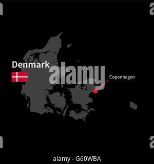 Detailed map of Denmark and capital city Copenhagen with flag on black background - Stock Photo