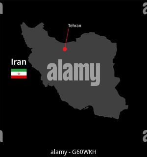Detailed map of Iran and capital city Tehran with flag on black background - Stock Photo