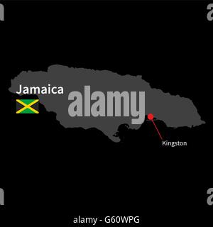 Detailed map of Jamaica and capital city Kingston with flag on black background - Stock Photo