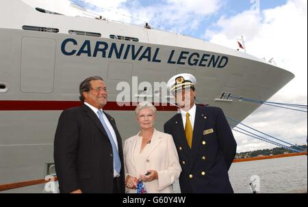 Carnival CEO Micky Arison, actress Dame Judi Dench and the ship's captain Claudio Cupisci, during a ceremony at - Stock Photo