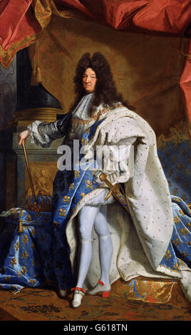 Louis XIV. Portrait of King King Louis XIV of France (1638-1715), after Hyacinthe Rigaud 1701 painting, oil on canvas - Stock Photo