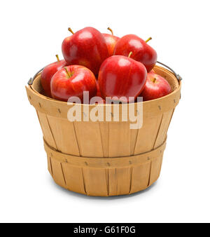 Basket Full of Red Apples Isolated on White Background. - Stock Photo
