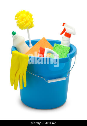 Blue Bucket with Cleaning Supplies Isolated on White Background. - Stock Photo