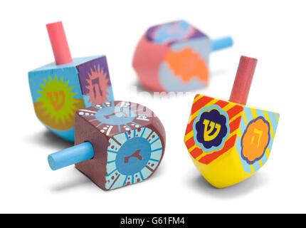 Wooden Toy Jewish Dreidals Isolated on White Background. - Stock Photo