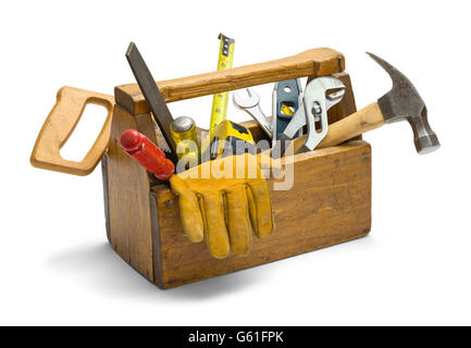 Old Wooden Tool Box Full of Tools Isolated on White Background. - Stock Photo