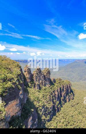 Three sisters in Blue mountains national park near Sydney Australia - Stock Photo