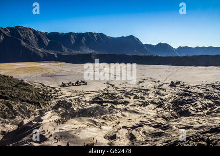 Nice view from top of Mount Bromo volcano in Indonesia - Stock Photo