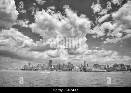 Black and white picture of Manhattan seen from Hudson River, New York City, USA. - Stock Photo