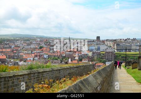View from St Mary's church Whitby looking towards the old town of Whitby in the North Yorkshire Moors England UK - Stock Photo