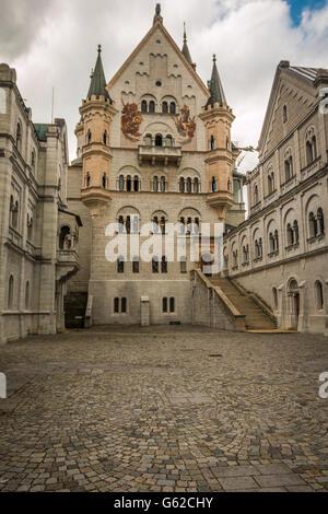 Neuschwanstein castle courtyard in Bavaria Germany - Stock Photo